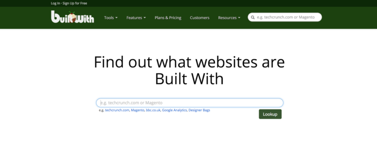 builtwith search page