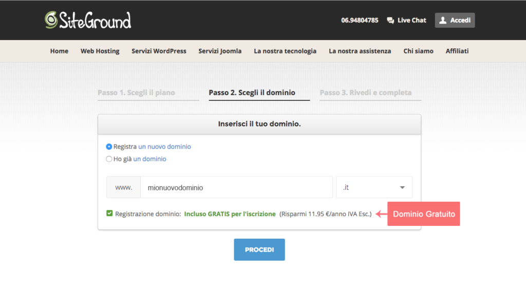 Siteground-hostingsignup-step2-scelta del dominio