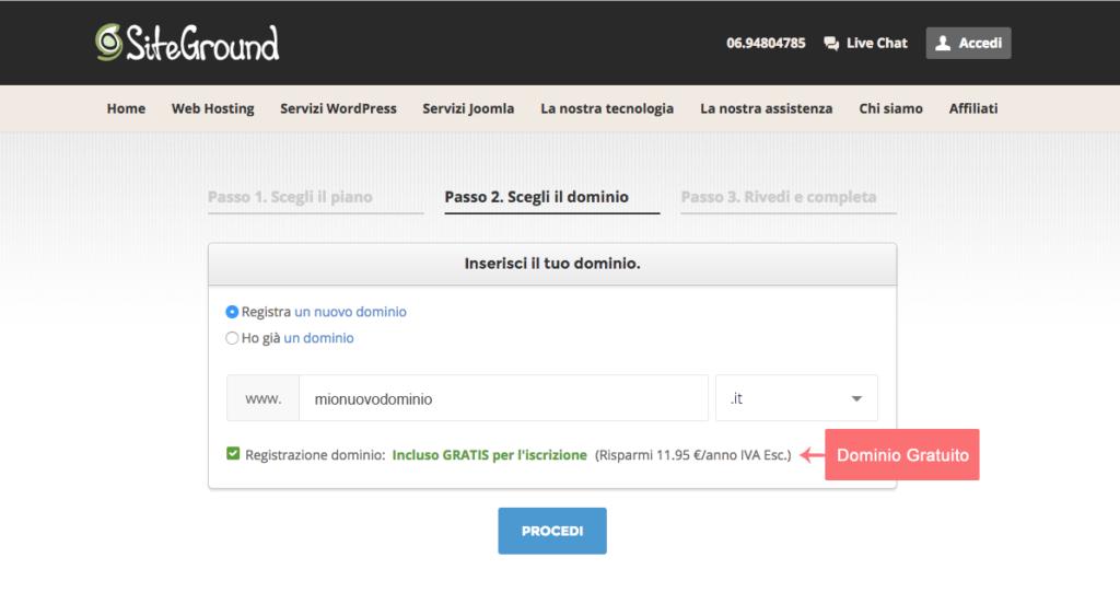 Siteground-hostingsignup-step2-scelta del dominio